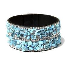 Amrita Singh Silver Tone Turquoise Chips Crystal Cuff Bracelet BRC 1583 NWT