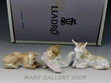 Lladro Nativity Mini Figurines Ornaments Cow Donkey Angel Set 3Pc #6095 Mint Box