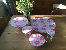 Handmade Fabric Food Covers X 5. Pink Daisy