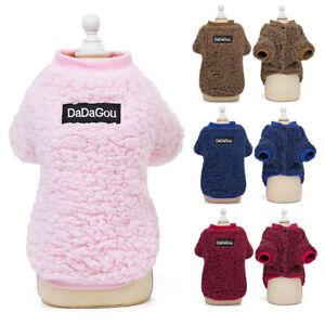 Fleece Pet Cat Dog Jumper Winter Sweater Warm Clothes Puppy Pullover Coats Vest