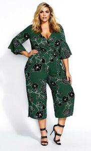 City Chic Size L - 20 Trendy Plus Varsity Green Striped Floral Print Jumpsuit