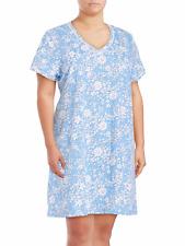 NWT Karen Neuburger Plus Sz 1X Sleep Shirt Dress Nightgown Nightshirt White Blue