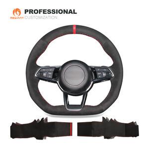 DIY comfortable Black Suede Car Steering Wheel Cover Wrap for Audi TT RS R8 TTS