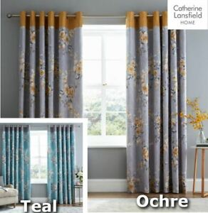 Catherine Lansfield Canterbury Curtains Lined Eyelet Ready Made Teal Ochre Grey
