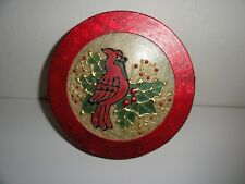 """Gift Box Stain glass looking cover Cardinals And Holiday Holly-8 1/2"""" Round"""