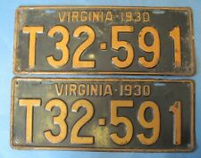 Scarce 1930 Virginia truck License Plates Matched Pair