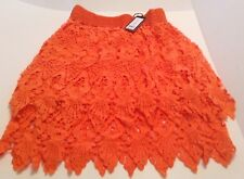 Romeo & Juliet Couture Layered Lacy Lace Mini Skirt Orange, Size S super cute!