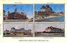 Old Orchard Beach ME Multi-View Hotels Copper Window Type Postcard