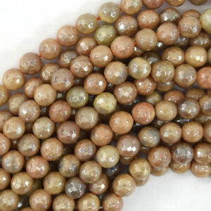 """Mystic Titanium Faceted Sunstone Round Beads 15.5"""" Strand 4mm 6mm 8mm 10mm 12mm"""