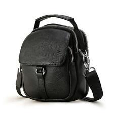 Men's Leather Small Messenger Shoulder Bag Waist Bag Handbag Buckle Zipper Black