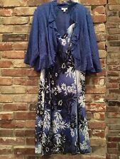NWT Womens Plus 14W Dressbarn Blue Floral Fall Jacket Dress Shrug Formal Wedding