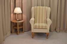 Wing Back Fireside Armchair in Wheat Stripe and Plain fabric