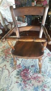 19th Century Walnut Child's Chair with Screw Out Safety Bar VG Cond. Refinished