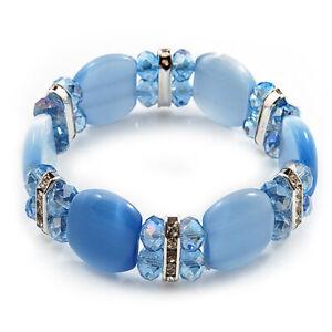 Light Blue Cat Eye Glass Bead Flex Bracelet -18cm Length
