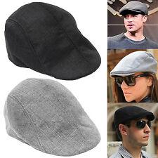 Mens Womens Peaked Cap Flat Hat Beret Hats Cabbie Newsboy Golf Style Grey