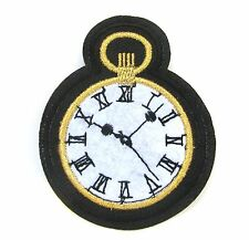 Pocket Watch Iron On Patch- Clock Time Piece Embroidered Applique Badge