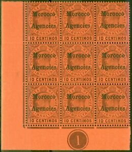 Morocco Agencies 1905 10c Dull Purple-Red SG25 Fine MNH Pl 1 Corner Block of 9