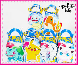 POKEMON PARTY FAVOUR BOXES KIDS BIRTHDAY LOLLY LOOT BAGS SUPPLIES DECORATIONS
