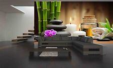 Photo Wallpaper Stones,Orchid,Bamboo GIANT WALL DECOR PAPER POSTER FOR BEDROOM