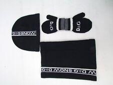 D&G Dolce & Gabbana Navy Wool Logo Hat Scarf Gloves Set Age 2 or S BNWOTS