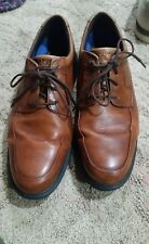 Men's Brown Leather Light Weight Casual Rockport dress sports Shoes size 10