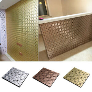 Peel And Stick Tile Back Splash Kitchen Wall Decor Aluminum Surface Metal Mosaic
