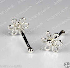 Silver Nose Stud Bone Ring One (1) 1/8 Inch Dainty Flower Sterling Jewelry