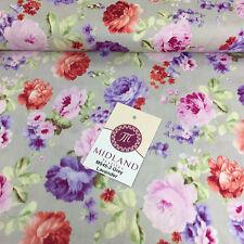 """Vintage Blumen Rose Shabby Chic bedruckt 100% Baumwolle Popeline Stoff 44"""" breit m545"""