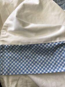 Pottery Barn Dust Ruffle Crib Blue White Check Cotton Pleats Gingham PB Kid Baby