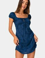 MOTEL ROCKS Gaval Mini Dress in Satin Rose Midnight XS (mr7)