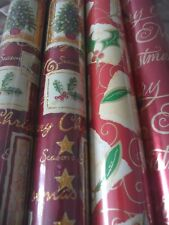 Red Gold Green Christmas Wrapping Paper Rolls Holly Trees Writing Approx 12m BN
