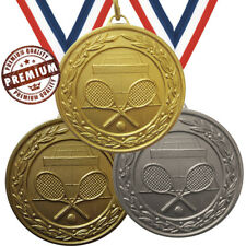 TENNIS MEDAL 50mm EMBOSSED TOP QUALITY, WITH FREE RIBBON, GOLD SILVER BRONZE