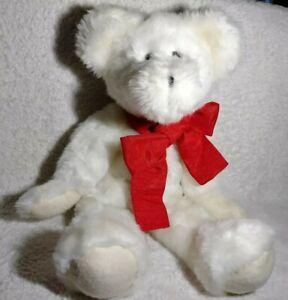 "Hallmark Teddy Bear Plush Jointed Red Ribbon Ivory 17"" Beanie Body Felt Faux Fur"