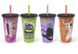 Zak Disney Villains 4-Pack Glow In The Dark Tumbler Cups Reusable Halloween