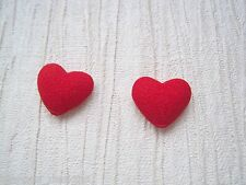 CUTE RED FABRIC DOMED LOVE HEART SP Stud Earrings GIFT BAG Valentines