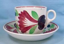 Antique Virginia Spongeware Cup & Saucer Red Blue Purple Flowers Cut Sponge #3