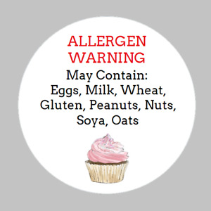 x120 Cupcake Allergen Warning Stickers Food Allergy - Safety Stickers 40mm Dia