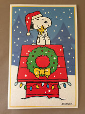 """Peanuts """"Snoopy & Woodstock"""" Christmas Card & Matching Envelope~7 3/4"""" X 5"""", NEW"""