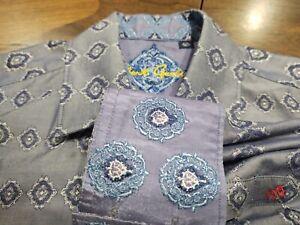 ROBERT GRAHAM Shirt Size L Flip Cuff Blue Embroidered