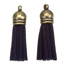 Suede Tassel Charms with Bronze Cap for Jewellery Making Navy Blue 36mm (H20/1)