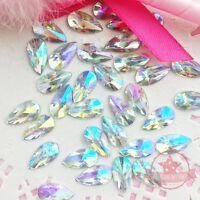 30 pcs 8x13mm Teardrop Crystal AB Acrylic Special Effect Flat Back Rhinestones