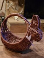 """Vintage Small EASTER BUNNY Brown Wicker Basket 6.5"""" Pink Bow"""