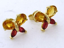 Genuine 9ct Yellow Gold Natural Citrine & Red Sapphire Butterfly Stud Earrings
