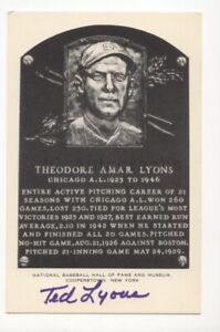 Ted Lyons - MLB Hall of Fame - Autographed Hall of Fame Plaque White Postcard