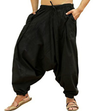 Sarjana Handcrafts Mens Black Solid Pockets Harem Pants Drop Crotch NEW
