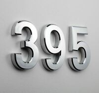 """POLISHED CHROME 100mm HEAVY LARGE CAST BRASS 4/"""" HOUSE DOOR NUMBERS NUMERALS"""