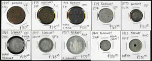 ^^AWESOME^^ TEN NORWAY COINS (1819-1922)  !!! CAT VALUE $2000 USD !!! NO RESERVE