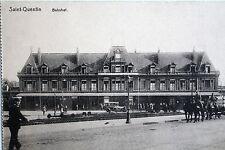 18177 AK Saint-Quentin Bahnhof Pferdekutsche Laternen Autos Passanten um 1920