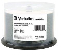 50-Pak VERBATIM 8X White Inkjet Hub 8.5GB DOUBLE LAYER DL DVD+Rs, Verbatim 98319