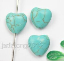 50pcs Turquoise Heart Shaped Gemstone loose Spacer Beads Jewelry 12mm